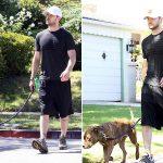 Justin timberlake com seu cachorro pitbull
