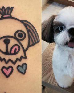 tatuagem de cachorro delicada shih tzu